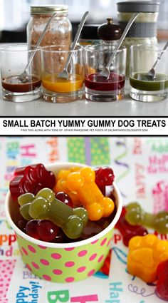 Multi-Coloured/Flavoured Small Batch Gummy Dog Treats – Famous Last Words Dog Biscuit Recipes, Dog Treat Recipes, Dog Food Recipes, Puppy Treats, Diy Dog Treats, Homemade Dog Cookies, Frozen Dog Treats, Dog Bakery, Dog Snacks