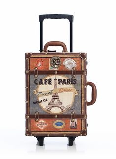 faux leather trim paris design suitcase