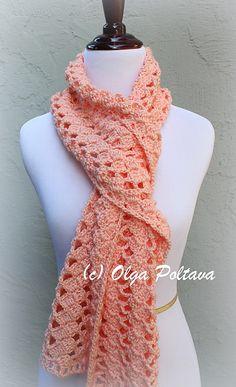 Crochet Scarfs Ravelry: Simply Caron Lace Scarf pattern by Olga Poltava - Crochet Lacy Scarf, Lace Scarf, Crochet Scarves, Crochet Yarn, Crochet Clothes, Lace Shawls, Crochet Granny, Tunisian Crochet, Knit Cowl