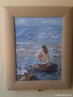 oleo tabla enmarcado 740*30 cm lo que es la mancha mujer en la playa con gaviotas