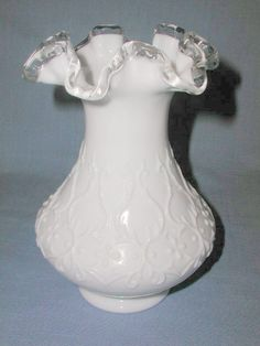 "FENTON SILVERCREST SPANISH LACE MILK GLASS RUFFLED TOP VASE 8"". FOR SALE IN MY STORE: https://www.ebluejay.com/Ads/item/5918598"