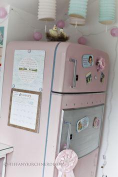 Vintage pink refrigerator