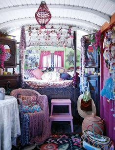 Interior of garden Gypsy Wagon