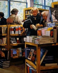 "Karin Jurick ~ ""Boston Books"" ~ People rummaging through the artbooks in the gift shop of the Museum of Fine Arts in Boston."