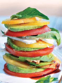 This simple, healthy dish is a showstopper—it's a big colorful stack of summer flavors. Healthy Summer Recipes, Healthy Dishes, Healthy Food, Tomato Basil, Tomato Mozzarella, Veggie Tales, Appetizer Dips, Healthy Alternatives, Summer Salads