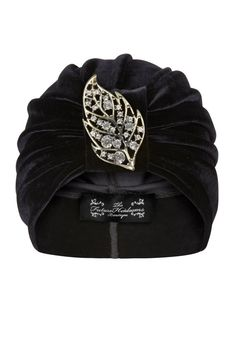 Black Velvet Turban with Silver and Jewel Leaf by TheFHBoutique, £25.00