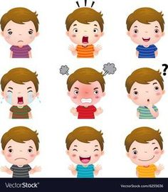 Cute boy faces showing different emotions vector image on VectorStock Emotions Cards, Feelings And Emotions, Drawing For Kids, Art For Kids, Teaching Kids, Kids Learning, Learning Activities, Activities For Kids, Emotions Preschool