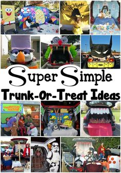 Super Simple Trunk-Or-Treat Ideas. If your organization is hosting a Trunk Or Treat party, you'll find all the ideas you need right here! Click now! These trunk-or-treat ideas will help you have the best dressed car in the whole parking lot! Halloween Night, Easy Halloween, Holidays Halloween, Halloween Treats, Halloween Party, Halloween Stuff, Family Halloween, Halloween 2020, Halloween Costumes