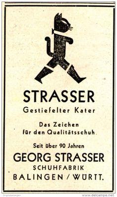Original-Werbung/ Anzeige 1950 - SCHUHE STRASSER / GESTIEFELTER KATER…