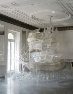 Pirate Ship Ice Sculpture