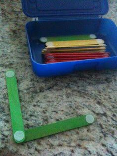 Easy and fun.Velcro + popsicle sticks make for great quiet time or restaurant activity. Put velcro dots on the ends of popsicle sticks. Kids can make letters or shapes over and over again. I found velcro dots at my local dollar store. Kids Crafts, Craft Activities For Kids, Craft Stick Crafts, Projects For Kids, Learning Activities, Preschool Activities, Kids Learning, Craft Sticks, Summer Activities