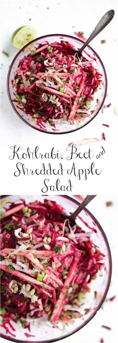 Kohlrabi, Beet and Shredded Apple Salad with Sunflower Seeds and Feta (omit the feta to make vegan and dairy-free)