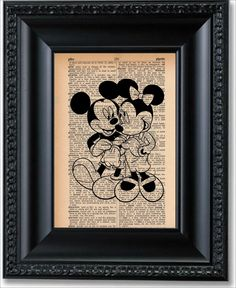 Mickey Mouse and Minnie Mouse Dictionary Art by SmittensDesigns, $7.50