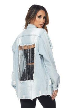 See-Thru Back Distressed Denim Jacket - ModishOnline.com