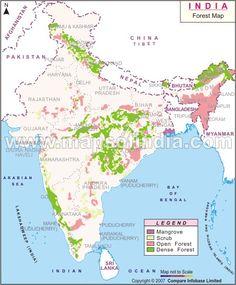 Forest Vegetation Map of India shows the eco-regions in India. India  is one of the 17 megadiverse countries in the world.