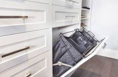 Sort your clothes in style with custom hampers! Closet Mirror, Mirror Door, Closet Built Ins, Walk In Closet, Laundry Hamper, Closet Designs, Life Organization, Closets, Interior Design