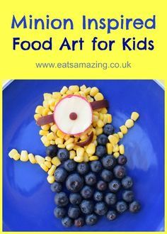 Fun and easy minion food art snack for kids with quick video instructions - extra fun healthy food for kids from Eats Amazing UK