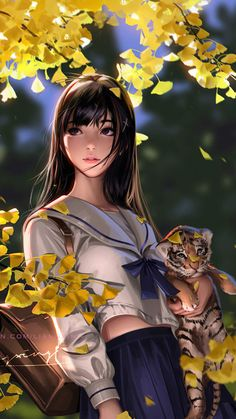 Autumn Girl with Cubs iPhone Wallpaper - iPhone Wallpapers