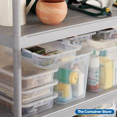 Customize the Tribac Shelving System with matching totes that add even more storage. Designed to hang from Tribac Rails (sold separately), each rugged bin functions as a sliding drawer so you can easily organize small items and supplies. Iron Storage, Storage Bins, Storage Ideas, Small Parts Organizer, Reach In Closet, Garage Shelving, Container Store, Garage Organization, Totes