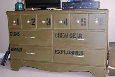 Gavin's room Repurposed military theme dresser from RoadKill Rescue.Perfect for a boy's room or mancave Military Bedroom, Army Bedroom, Kids Bedroom, Boys Army Room, Boy Room, Boy Dresser, Camo Rooms, Camo Boys Bedrooms, Refurbished Furniture