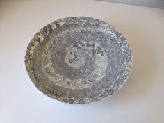 Cream white and grey fused glass bowl by KoruGlassArt on Etsy