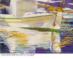 """boats paros harbour 11"""" x 15"""" micheal zarowsky / watercolour / pastel on arches paper / available  400.00"""