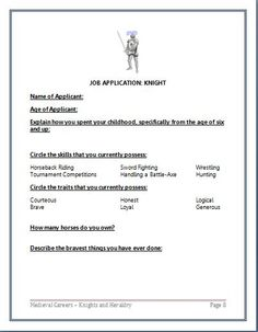 From Medieval Careers: Knights Lesson Plan Job Application