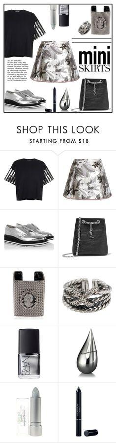 """Mini Skirts"" by gabrilungu ❤ liked on Polyvore featuring Bundy & Webster, Thom Browne, Prada, Yves Saint Laurent, BISOU BIJOUX, David Yurman, NARS Cosmetics, La Prairie, Christian Dior and MINISKIRT"