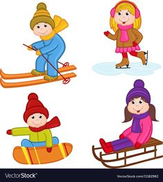 Set of isolated children winter sports vector image on VectorStock Winter Activities For Kids, Winter Games, Winter Kids, Winter Sports, Diy Crafts For Kids, Preschool Activities, Santa Decorations, Brain Training Games, Retro Logos