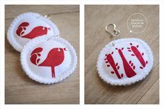 Handprinted quirky bird earrings on cotton fabric - LBJs by Doeksisters Bird Earrings, Crochet Earrings, Cotton Fabric, Birds, Christmas Ornaments, Holiday Decor, Pretty, Design, Xmas Ornaments