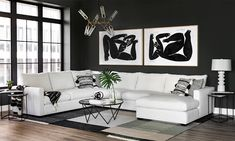 The simplest of decorating schemes is also the most striking. The brilliant white Gage Sectional is a comfy stretch of carefree, hard-wearing, stain-resistant Crypton. Punch it up with black graphics in the pillows, the Triangle Marble Side Tables, the Audin Cocktail Table and the impactful Choreographic I & II art. Black And White Living Room, Dorm Room Designs, Beautiful Living Rooms, High Fashion Home, Contemporary Furniture, Home Furnishings, Side Tables, Punch, Triangle