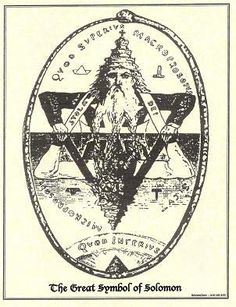 The Seal of Solomon... In alchemy, the combination of the fire and water symbols (up and down triangles) is representative of the combination of opposites and transmutation. The Ouroboros (snake eating itself) represents the cycle of life, death and rebirth.
