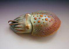 Kylie Cuddlefish - iridescent PMC sculpture by Gordon Uyehara