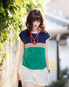 Blusa Casual de Poliéster de Bajo cuello redondo de Diseño de Empalme de Mangas Cortas de las mujeres (Como el cuadro,Un tamaño)   Sammydres...
