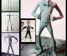 Make a wire-and-foil armature for sculpting. May use this for papier mache vintage halloween decore repro.