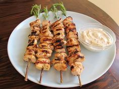 rosemary lemon chicken skewers with dijon mayo + 9 other delicious rosemary skewer recipes Chicken Skewers, Marinated Chicken, Chicken Flavors, Chicken Recipes, Lemon Rosemary Chicken, Skewer Recipes, Cooking Recipes, Healthy Recipes, Paleo Meals
