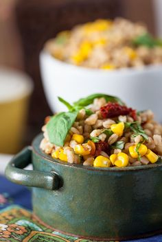 Roasted Corn  Basil Farro Salad -