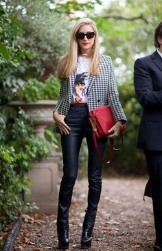 Street style outfit - graphic tshirt houndstooth jacket leather pants and red bad - fashion style
