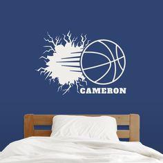Custom Basketball Breaking Wall - Wall Decal - Sweetums Wall Decals