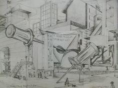 korbartwuhs.wordpress.com Surrealist perspective drawing of a city