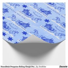 """Hanukkah Penguins Riding Sleigh #Personalized_Wrapping_Paper - The original design on this roll is just the thing for #Penguin lovers, Unique #Hanukkah patterns & those who appreciate the feel of premium quality heavy weight linen textured paper. On a snowy blue backdrop sit dignified Penguin couples in their holiday finest in vintage 19th Century sleighs pulled by high-stepping horses. Mingled between are royal blue #Stars_of_David, """"Happy Hanukkah!"""" plus a caption you can keep or…"""