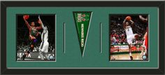 Two framed 8 x 10 inch Milwaukee Bucks photos of Monta Ellis and Brandon Jennings with a Milwaukee Bucks mini pennant, double matted in team colors to 30 x 12 inches.  The lines show the bottom mat color.  (Pennant design subject to change)  $99.99 @ ArtandMore.com