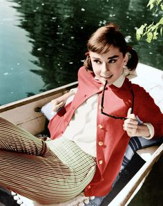 Colorized version of classic black and white Audrey Hepburn photo.