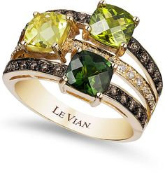 Prepare for friends to be green with envy when they see you wearing this striking Le Vian ring.   A three-row design that gives the look of stacking rings that is really popular at the moment there are certainly lots of fabulous gems in this ring.   Green tourmaline, peridot, lemon quartz, chocolate diamonds and white diamonds, what's not to like?