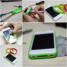 Protector de celular con pulseras de silicona