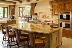 Tuscany Kitchen with chisled Versaille Pattern travertine floors mediterranean kitchen