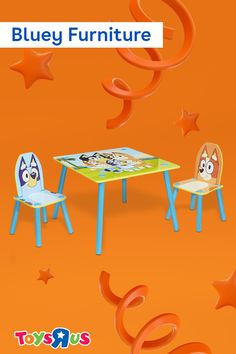 Take a seat with Bluey, Bingo and the whole Heeler family with the Bluey Furniture set! It includes two chairs and an easy to clean table for use during craft time, play time, study time and more! It's colorful, cute and super easy to set up!