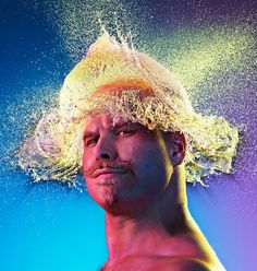 """In this series, Water Wigs, Tadder and his team found some handsome gents sans cheveux, and with the help of some strategically placed water balloons, they were able to capture the exploded water's shape at the moment of impact, thus creating these killer """"water wigs."""""""