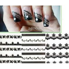 Nail Art Sticker 30 Sheet Mixed Black Flowers Lace Decal Manicure Tip French Style $10 Amazon