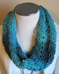 Crochet Cowl Multi Color Beautiful Sparkle Yarn in by Kitkateden, $22.00